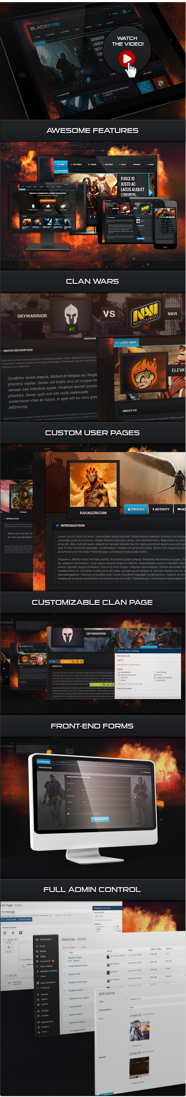 Blackfyre WordPress gaming theme